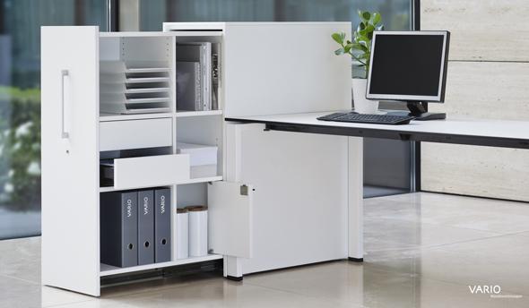 Beistellcontainer für 2,5 OH mit Regalfächern, Schubladen mit Materialschalen und Privatfach
