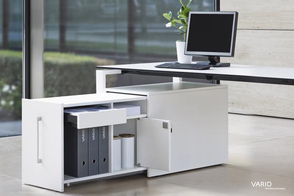 Untertischcontainer mit Schublade, Regalfach (1 OH) und Privatfach