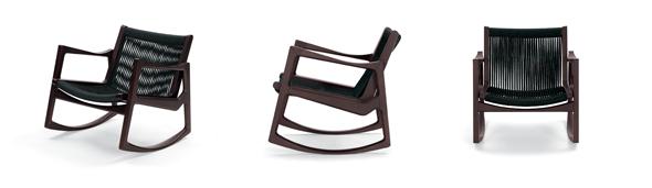 Euvira, Rocking Chair von ClassiCon. Eiche braun gebeizt mit schwarzer Kordel. Design by Jader Almeida, Brazil.