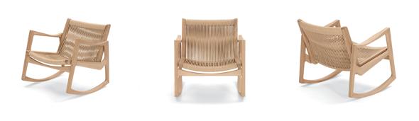 Euvira, Rocking Chair von ClassiCon. Eiche mit hanffarbener Kordel. Design by Jader Almeida, Brazil.