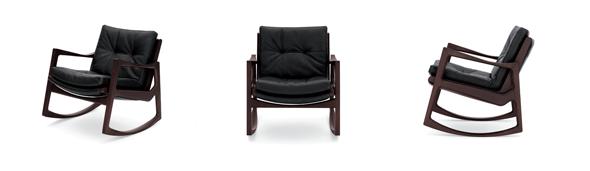 Euvira, Rocking Chair von ClassiCon. Eiche braun gebeizt mit schwarzem Leder. Design by Jader Almeida, Brazil.