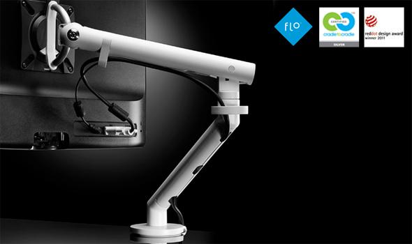 Dank ihrem einzigartigen Design bietet die Flo Monitorhalterung einen enormen Bewegungsspielraum und lässt sich besonders leicht bewegen, was sie von allen anderen Monitorschwenkarmen abhebt.