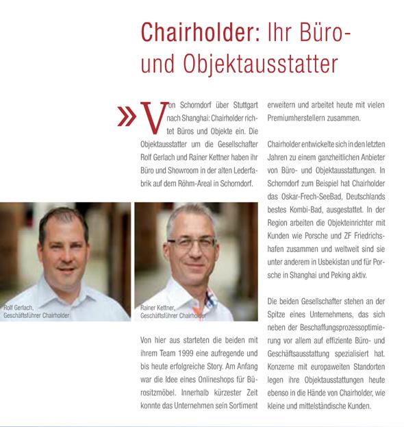 Chairholder in der Wirtschaftsbroschüre der Stadt Schorndorf
