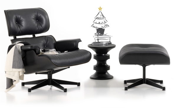 Lounge Chair + Ottoman in der Black Collection (Eames Stool geschenkt)