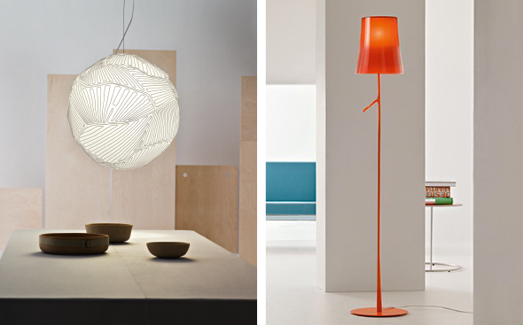 Planet (links), Birdie (rechts), FOSCARINI
