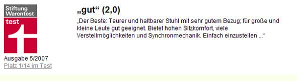 Stiftung Warentest: Testergebnis Schreibtischdrehstühle 05/07
