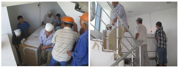Ein Großteil der Ware kam ins 9. Stockwerk - ein Kraftakt der besonderen Art...