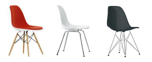 die neue Vollpolstervariante des Eames Plastic Side Chairs von Vitra, hier zu sehen der DSW, der DSX und der DSR
