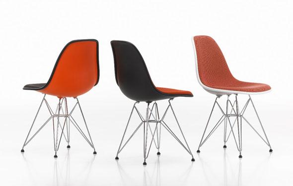 der neue Eames plastic Sidechair DSR von Vitra, jetzt mit Vollpolster in div. Farben wählbar