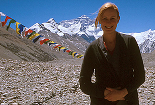 Helga Hengge im Basislager