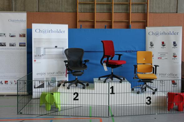 """Chairholder-Siegertreppe """"Drehstühle"""""""