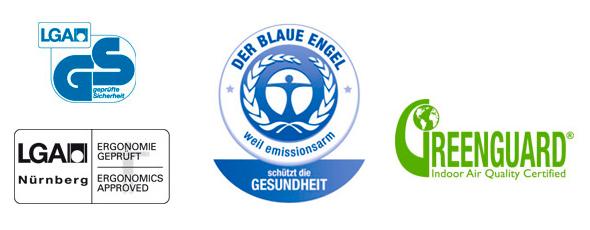 Die ID Chairs tragen die Umweltlabels «Blauer Engel für emissionsarme Polstermöbel» und «GREENGUARD Certified».