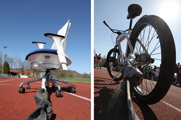 Das Gefährt: Herman Miller SAYL Bürodrehstuhl & Cruiser von Bikes'n'Boards