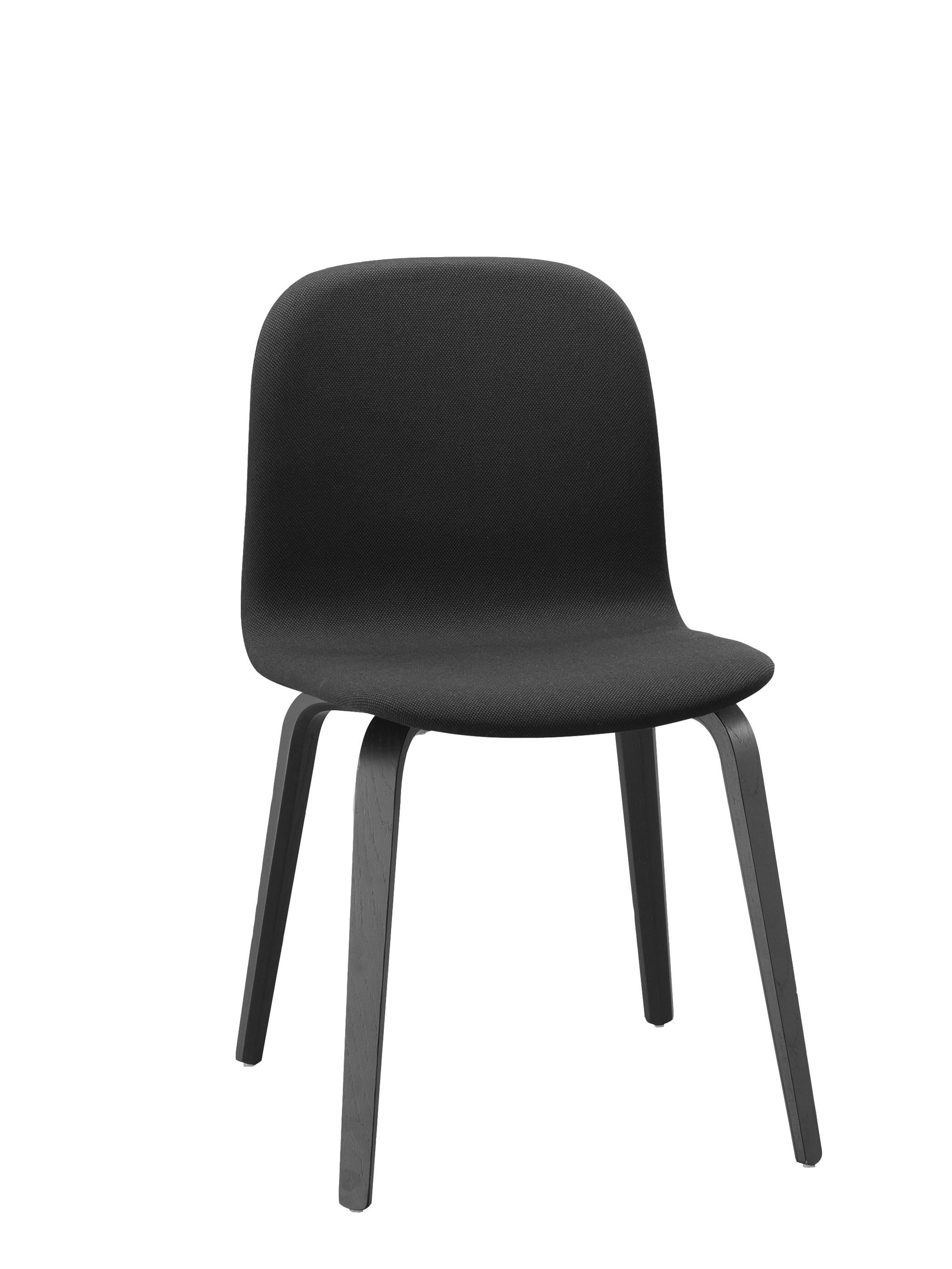 Muuto visu chair wood base holgestell gepolstert black for Schalenstuhl gepolstert